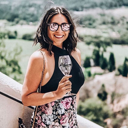 Woman Sipping Sparkling Wine at Sterling Vineyards