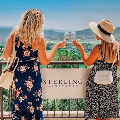 Two women looking out over the vineyards at Sterling Winery