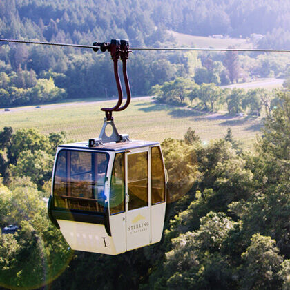 Aerial Tram Heading from Napa Valley Floor Up to Sterling Winery