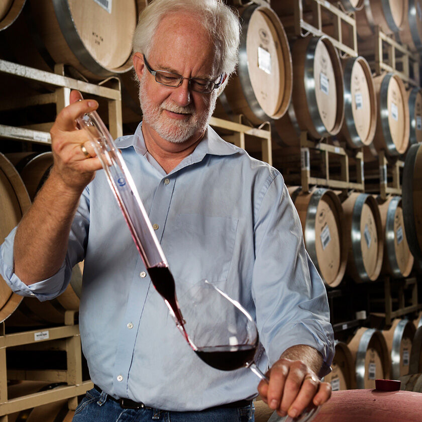 General Manager & Director of Winemaking Harry Hansen Pouring Barrel Sample into Wine Glass