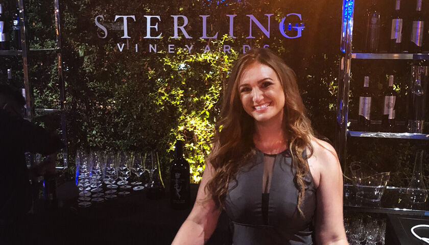 Woman in front of Sterling Vineyards Wine