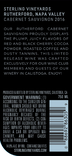 2016 Sterling Vineyards Rutherford Cabernet Sauvignon Back Label, image 3