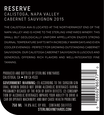2015 Sterling Vineyards Reserve Calistoga Cabernet Sauvignon Back Label, image 2