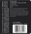 2018 Sterling Vintner's Collection California Pinot Noir Back Label, image 3