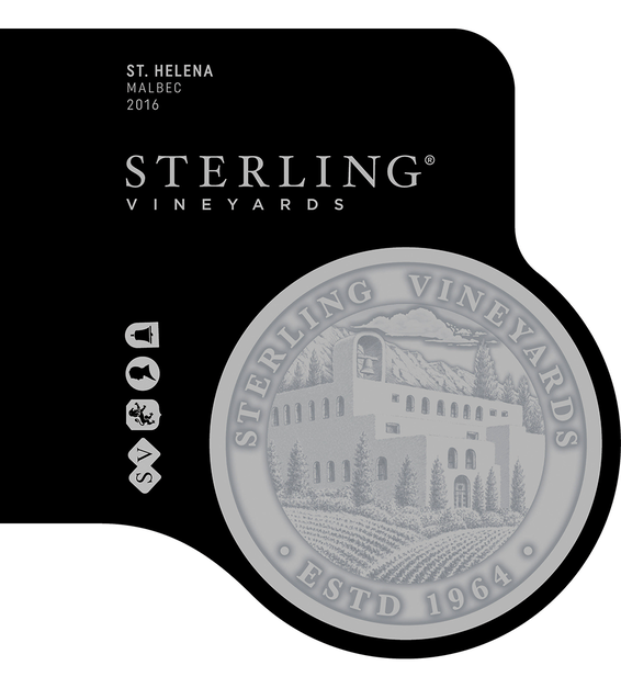 2016 Sterling Vineyards St. Helena Malbec Front Label