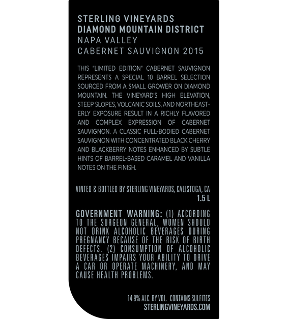 2015 Sterling Vineyards Limited Edition Diamond Mountain District Napa Valley Cabernet Sauvignon Magnum Back Label