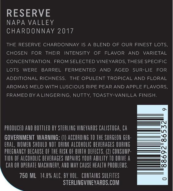 2017 Sterling Vineyards Reserve Napa Valley Chardonnay Back Label