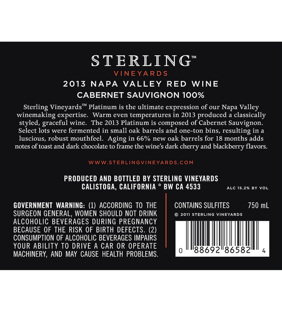 2013 Sterling Vineyards Platinum Napa Valley Cabernet Sauvignon Back Label