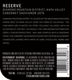 2015 Sterling Vineyards Diamond Mountain District Napa Valley Cabernet Sauvignon Back Label